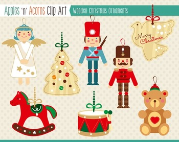 Wooden Christmas Ornaments Clip Art - color and outlines