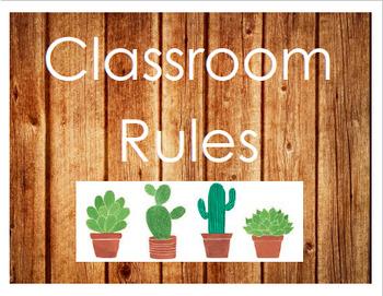 Wooden Classroom Rules Signs