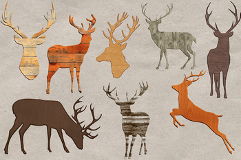 Wooden Deers Clipart, Stag Graphic Elements, 8 PNG Images, Different Wood Styles