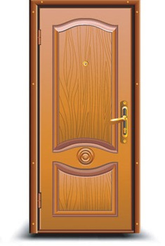 Wooden Door with Peephole1