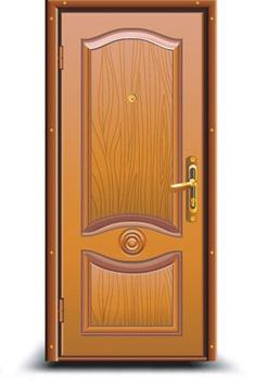 Wooden Door with Peephole1