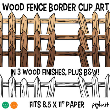 Wooden Fence Border Clipart, in 3 Wood Finishes Plus BW Line Art!