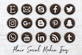 Wooden Flair Social Icons Set