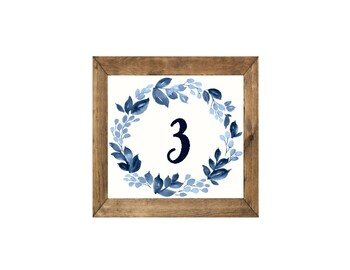 Wooden Framed Navy Floral Table Numbes and Alphabet Set