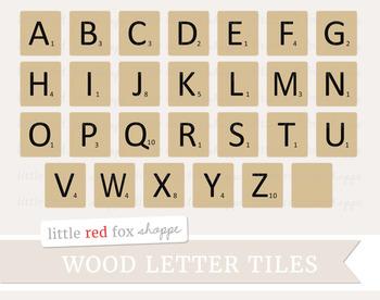 Wooden Letter Tile Clipart; Board Game, Spelling