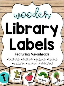Wooden Library Labels feat. Melonheadz with corresponding stickers