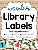 Wooden Library Labels feat. Melonheadz with corresponding