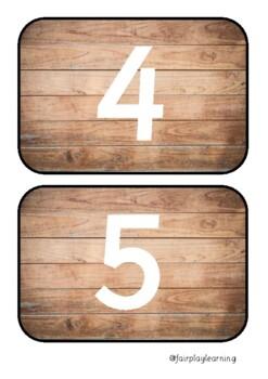 Wooden Number Line Flaschcards 0-50