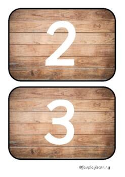 Wooden Number Line Flashcards 0-100