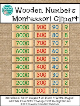 Wooden Numbers Montessori Clipart