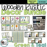 Wooden Rustic Green and Teal Classroom Decor Bundle