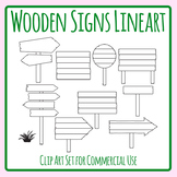 Wooden Signs Lineart - Black and White Directional Signs Clip Art Set Commercial