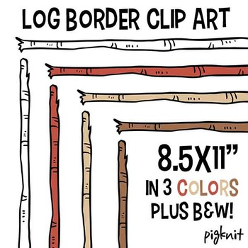 Wooden Stick Log Border Clip Art | Birch Wood Clipart Frame