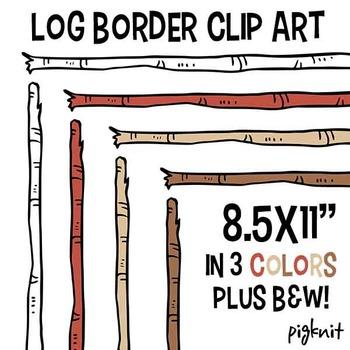 Wooden Stick Log Border Clip Art | Birch Wood Clipart Frame