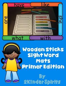 Sight Word Mats Using Wooden Sticks Primer Edition
