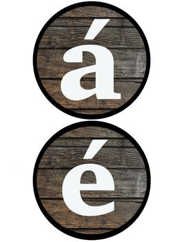 Wooden alphabet letters plus Spanish accent letters