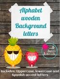 Wooden alphabet letters plus Spanish accent letters