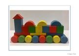 Wooden block TRAIN construction building card for Pre-School/Kindergarten