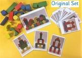 Wooden block building challenge cards for Pre-School/Kindergarten STEM Activity