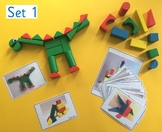 Wooden block building challenge cards for Pre-School/Kinde