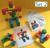 Wooden block building challenge cards for Pre-School/Kindergarten STEM (Set 2)