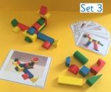 Wooden block building challenge cards for Pre-School/Kindergarten STEM (Set 3)