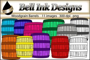 Woodgrain Barrels Clipart