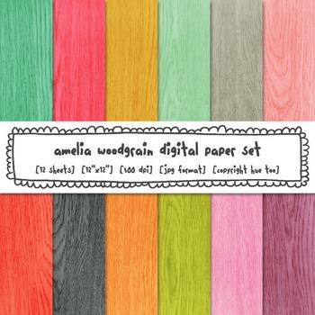 Woodgrain Digital Paper, Rustic Wood Digital Paper, Bright Colors