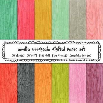 Woodgrain Digital Paper, Rustic Wood Digital Paper, Bright Colors