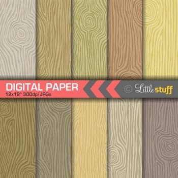 Woodgrain Digital Papers, Wood Grain Patterns