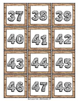 Woodgrain Number Cards 1-120