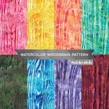 Woodgrain Pattern Watercolor Backgrounds