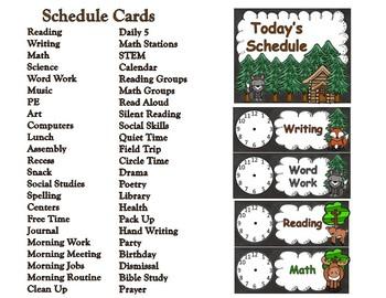Woodland Adventures Schedule Card with Clocks