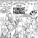 Woodland Animal Black Line Art, Forest Friends ClipArt Doodles