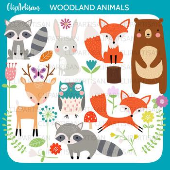 Woodland Animal Clipart, Fox, Bear, Owl