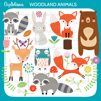 Woodland Animal Clipart, Cute Forest Animals