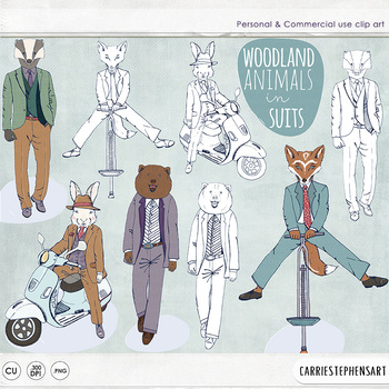 Woodland Animal Dudes in Suits, Hipster ClipArt, Bunny, Bear, Fox