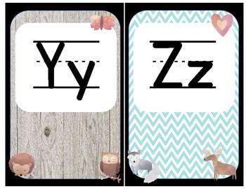 Woodland Animal Farm Shabby Chic Alphabet Letters Upper & Lowercase