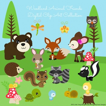 Woodland Animal Friends 2 Digital Clipart, clip art collection