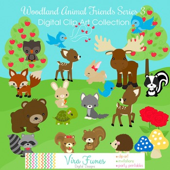 Woodland Animal Friends Series 3 Digital Clipart, clip art collection