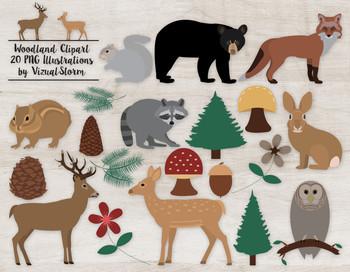 Woodland Animal Clip Art - 20 Cute Hand Drawn Forrest Animals and Vegetation