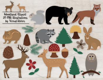 Woodland Animal Clip Art - 20 Cute Hand Drawn Forrest Animals and Vegetation