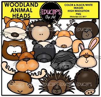 Woodland Animal Heads Clip Art Bundle {Educlips Clipart}