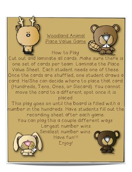 Woodland Animal ~~~ Place Value Game