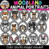 Woodland Animal Portraits Clipart  {Woodland Animal Clipart}