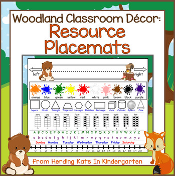 Woodland Classroom Decor: Resource Placemats