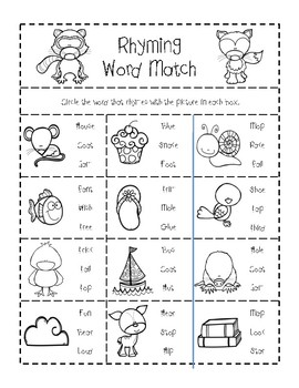 Woodland Animal Rhyming Worksheets by TheStickerPatch | TpT