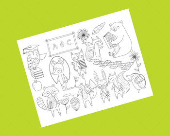 Woodland Animals Back to School Clip Art, Forest School Coloring Activity