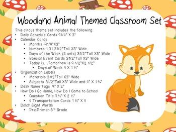 Woodland Animal Theme Classroom Display Set