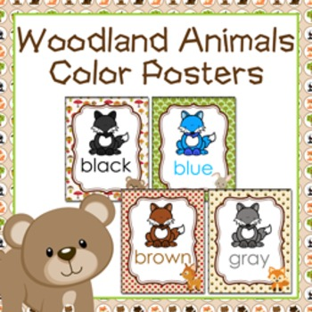 Woodland Animal Theme Color Posters